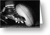 Kicking Football Greeting Cards - Australian Rules Greeting Card by Central Press