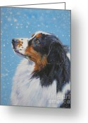 L.a.shepard Greeting Cards - Australian Shepherd in snow Greeting Card by L A Shepard