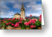 Planter Greeting Cards - Austrian Church Greeting Card by Debra and Dave Vanderlaan