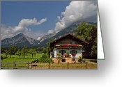Mountain Peaks Greeting Cards - Austrian Cottage Greeting Card by Debra and Dave Vanderlaan