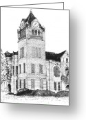 Clock Drawings Greeting Cards - Autauga County Courthouse Greeting Card by Barney Hedrick