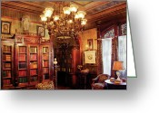 Cabinet Room Greeting Cards - Author - In the Library Greeting Card by Mike Savad