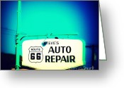 The Mother Road Greeting Cards - Auto Repair Sign on Route 66 Greeting Card by Susanne Van Hulst