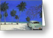 Blue Sky Greeting Cards - Auto Sulla Spiaggia Greeting Card by Guido Borelli