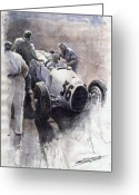 Watercolour Greeting Cards - Auto Union B type 1935 Italian GP Monza B Rosermeyer Greeting Card by Yuriy  Shevchuk