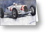 Sport Painting Greeting Cards - Auto Union C Type 1937 Monaco GP Hans Stuck Greeting Card by Yuriy  Shevchuk