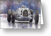Sport Painting Greeting Cards - Auto-Union Type C 1936 Greeting Card by Yuriy  Shevchuk