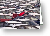 Imported Greeting Cards - Automobiles in a Parking Lot Greeting Card by David Buffington