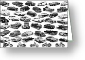 Ink Posters Drawings Greeting Cards - Automotive Pen And Ink Poster Greeting Card by Jack Pumphrey