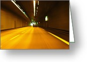 Horizontal Lines Greeting Cards - Autoroute Tunnel, France Greeting Card by Jon Boyes
