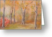 Woods Pastels Greeting Cards - Autum Somewhere In The Forest Greeting Card by Sandra Valentini