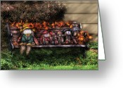 Scarecrow Greeting Cards - Autumn - Family Reunion Greeting Card by Mike Savad