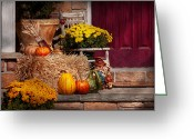 Autumn Scenes Greeting Cards - Autumn - Gourd - Autumn Preparations Greeting Card by Mike Savad