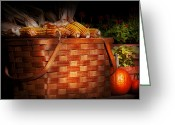 Autumn Scenes Greeting Cards - Autumn - Gourd - Fresh corn Greeting Card by Mike Savad