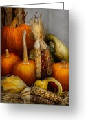 Autumn Scenes Greeting Cards - Autumn - Gourd - Pumpkins and Maize  Greeting Card by Mike Savad