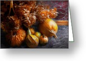 Autumn Scenes Greeting Cards - Autumn - Gourd - Still life with Gourds Greeting Card by Mike Savad