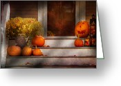 Autumn Scenes Greeting Cards - Autumn - Halloween - Were all happy to see you Greeting Card by Mike Savad