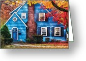 Blue House Greeting Cards - Autumn - House - Little Dream House  Greeting Card by Mike Savad
