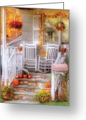 Rocking Chairs Greeting Cards - Autumn - House - My Aunts porch Greeting Card by Mike Savad