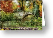 Autumn Scenes Greeting Cards - Autumn - House - On the way to grandmas House Greeting Card by Mike Savad