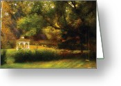 Gazebo Greeting Cards - Autumn - Landscape - Past and Present Greeting Card by Mike Savad