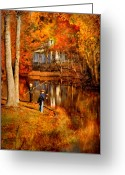 Fall Scenes Greeting Cards - Autumn - People - Gone Fishing Greeting Card by Mike Savad