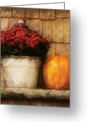 Maroon Greeting Cards - Autumn - Pumpkin - Autumn still life III Greeting Card by Mike Savad