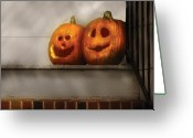 Carving Greeting Cards - Autumn - Pumpkins - Two goofy pumpkins Greeting Card by Mike Savad