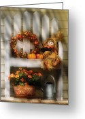 Scarecrow Greeting Cards - Autumn - Still Life - Symbols of Autumn  Greeting Card by Mike Savad