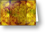 Lacy Abstract Greeting Cards - Autumn Greeting Card by Anne Lacy