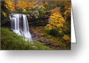 Orange Greeting Cards - Autumn at Dry Falls - Highlands NC Waterfalls Greeting Card by Dave Allen
