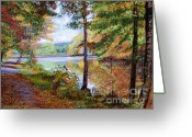 Walkways Greeting Cards - Autumn at Rockefeller Park  Greeting Card by David Lloyd Glover