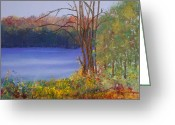 Red Leaves Pastels Greeting Cards - Autumn at the Lake Greeting Card by David Patterson