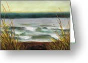 Waves Pastels Greeting Cards - Autumn at the Lake Greeting Card by Frances Marino