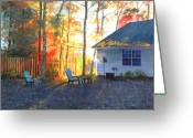 Suburbs Greeting Cards - Autumn Backyard Greeting Card by Sergey Zhiboedov