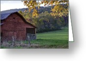 Red Barns Greeting Cards - Autumn Barn Greeting Card by Rob Travis
