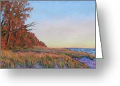 Sunset Prints Pastels Greeting Cards - Autumn Beach Greeting Card by Abbie Groves