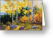 Trees Oil Greeting Cards - Autumn beauty of Sangre de Cristo mountain Greeting Card by Gary Kim