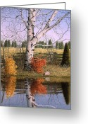 Split Rail Fence Painting Greeting Cards - Autumn Birch at the Pond Greeting Card by Conrad Mieschke