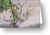 Batik Greeting Cards - Autumn Birch by Sand Creek Greeting Card by Carolyn Doe