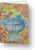 Red Leaves Pastels Greeting Cards - Autumn Birds Greeting Card by Thuraya R