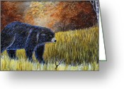Bears Painting Greeting Cards - Autumn Black Bear Greeting Card by Kenny Francis