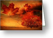 Red Autumn Trees Greeting Cards - Autumn Blaze Greeting Card by Lourry Legarde