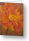 Aster  Painting Greeting Cards - Autumn Blaze Greeting Card by Nancy Craig