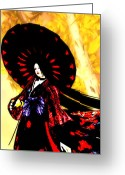 Maiko Greeting Cards - Autumn Blossom - Dark Thoughts Greeting Card by Nick Pearce