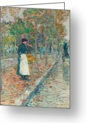 Raining Painting Greeting Cards - Autumn Boulevard in Paris Greeting Card by Childe Hassam