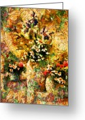 Wall Art Mixed Media Greeting Cards - Autumn Bounty - Abstract Expressionism Greeting Card by Zeana Romanovna