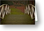 Brown Leaves Greeting Cards - Autumn Bridge Greeting Card by Odd Jeppesen