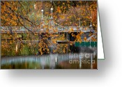 October Greeting Cards - Autumn Bridge Greeting Card by Susan Cole Kelly