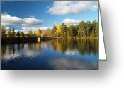 Johannessen Greeting Cards - Autumn Bridge Greeting Card by Torfinn Johannessen